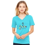 Ocean Playland Clown Women's  V-Neck T-Shirt