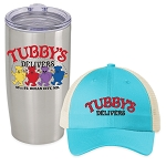 Tubby's Carry Out & Delivery Snapback Trucker Hat & Insulated Tumbler Combo
